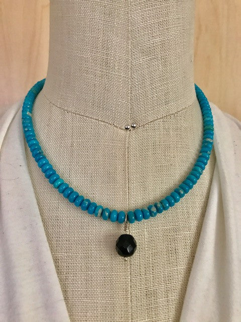 Turquoise with jet bead necklace
