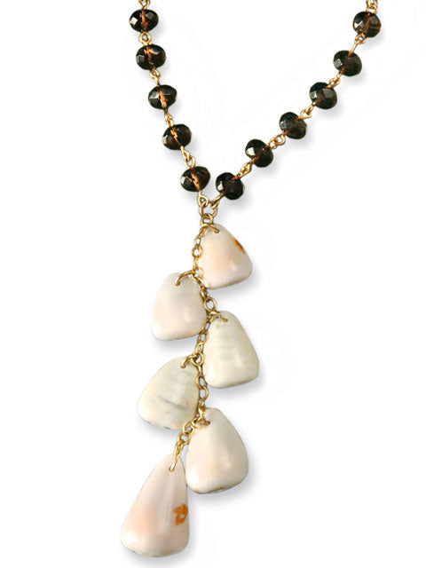 Pink shell dangle and smoky quartz necklace