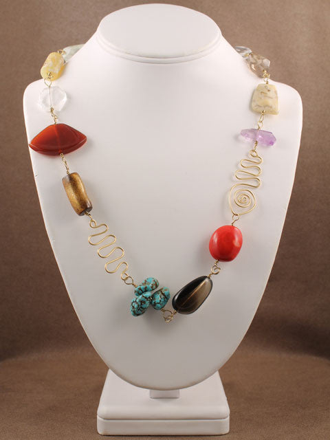 Multi beads with wire shapes necklace