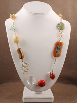 Multi beads with gold wire shapes necklace