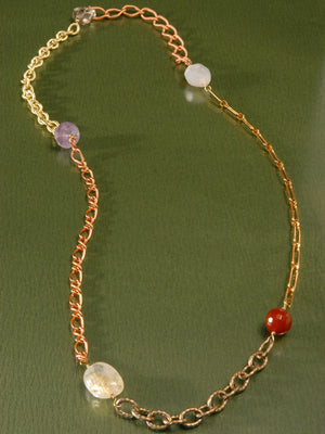 Mixed gemstones and chains necklace