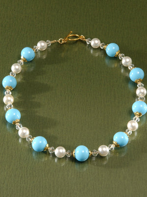 Blue, pearl and crystal bead necklace