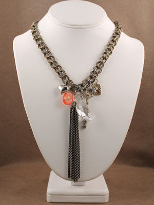 Chains and charms tassel necklace