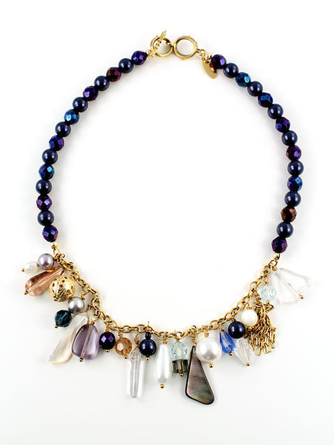 Shades of blue charm necklace