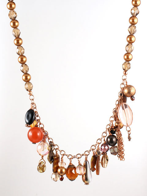 Shades of copper charm necklace