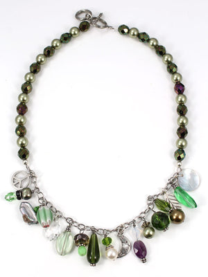 Shades of green charm necklace