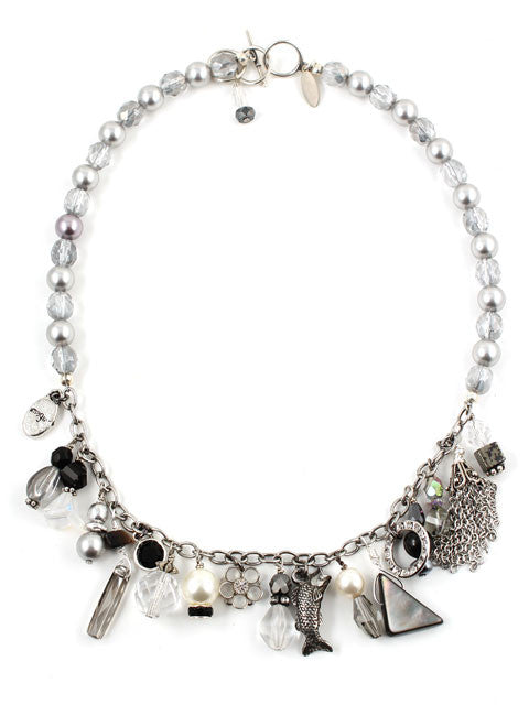 Shades of grey and black charm necklace