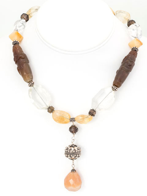 Yellow onyx and Bali silver pendant necklace