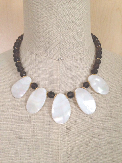 Smoky quartz mother of pearl necklace