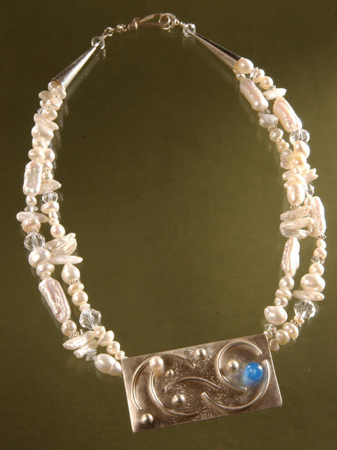 N079 Fused silver pendant and freshwater pearl necklace