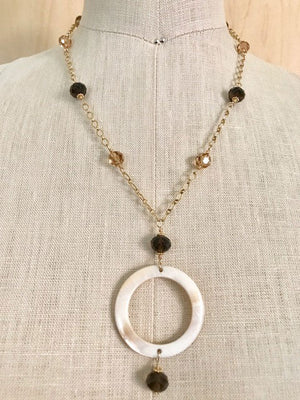 Mother of pearl and smoky quartz pendant necklace
