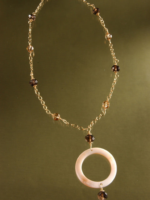 N082 Mother of pearl and smoky quartz pendant necklace