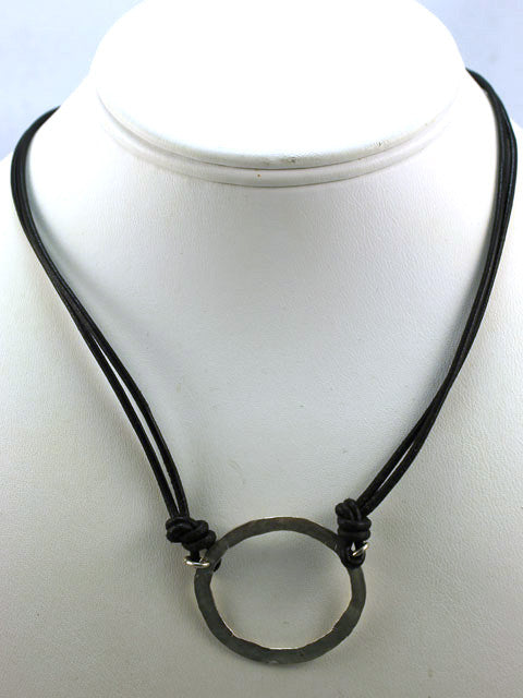 N085L Silver circle on black leather necklace