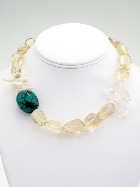 Yellow citrine and turquoise nugget necklace