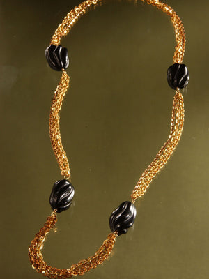 Carved black onyx and chain necklace