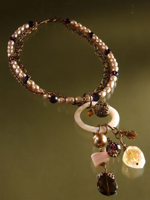 Pearl/brass chain mother of pearl pendant necklace