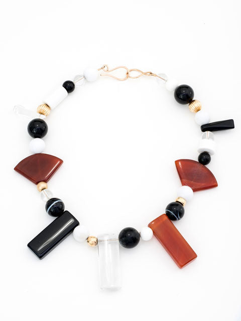 Quartz, carnelian and agate geometric shapes necklace