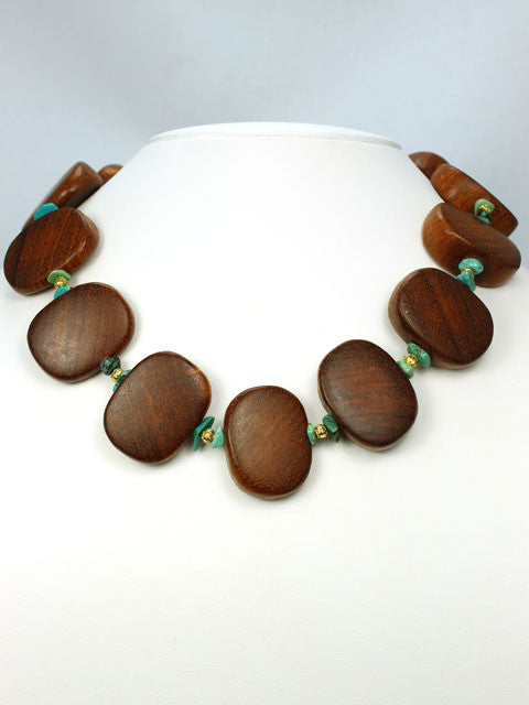 N103 Wood ovals and turquoise chip necklace