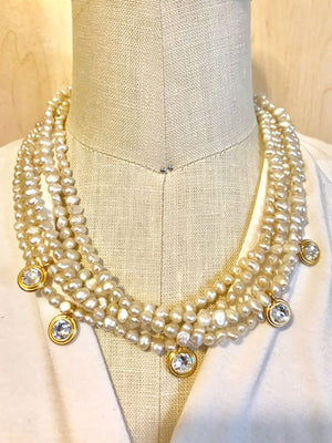 Pearl multistrand crystal drops necklace