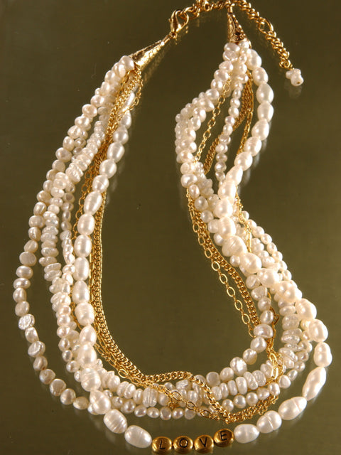 Pearl multistrand LOVE necklace