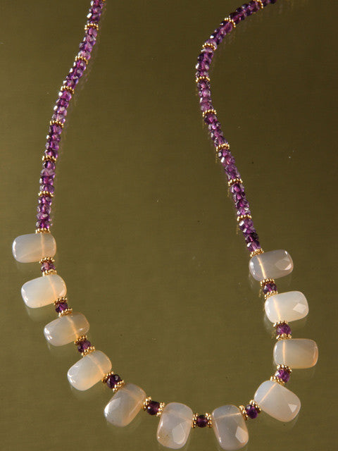 N106 Blue agate briolette and amethyst necklace