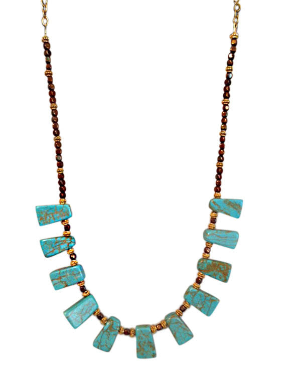 Tapered turquoise briolette necklace