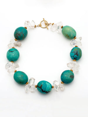 turquoise and clear quartz necklace