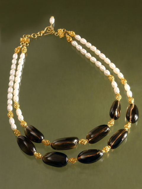 N115 Smoky quartz, vermeil and pearl two strand necklace