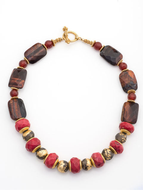 Coral and gold leaf clay bead necklace