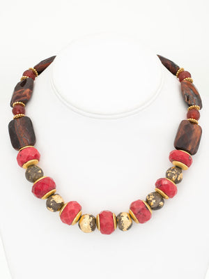 Coral, carnelian, and tiger eye necklace