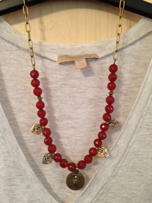 Carnelian and bronze charm necklace