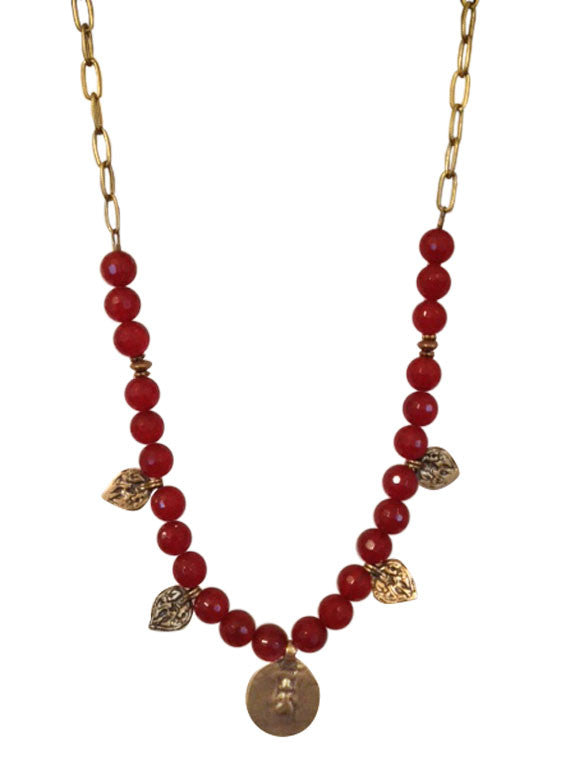 Carnelian and bronze necklace