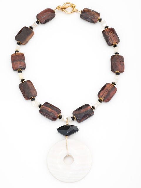 tiger eye and mother of pearl pendant necklace