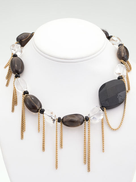 Black and brown chain fringe necklace