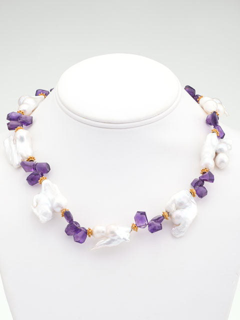 Amethyst and pearl nugget necklace