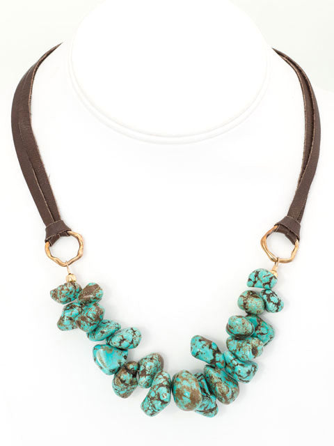 Blue magnesite and deerskin necklace