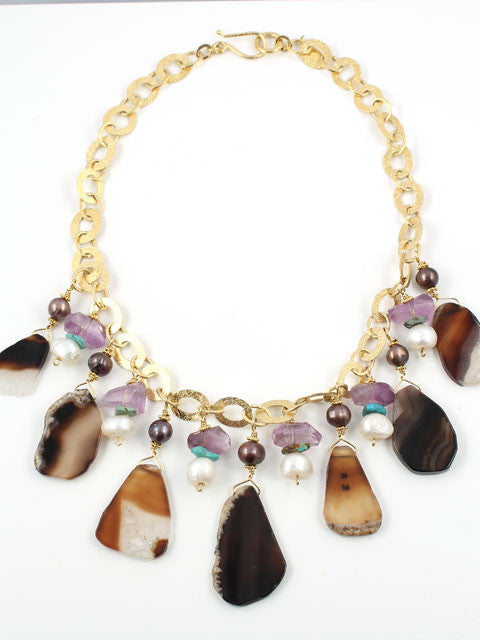 Agate slices chain necklace