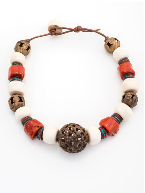 Coral, bone and brass focal bead necklace