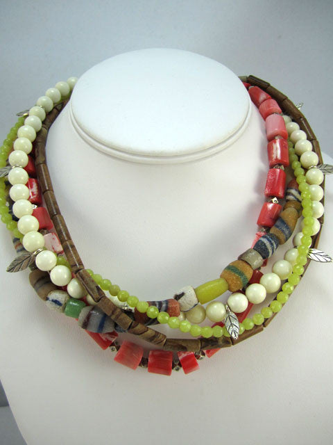 Five strand bone, coral and jade necklace