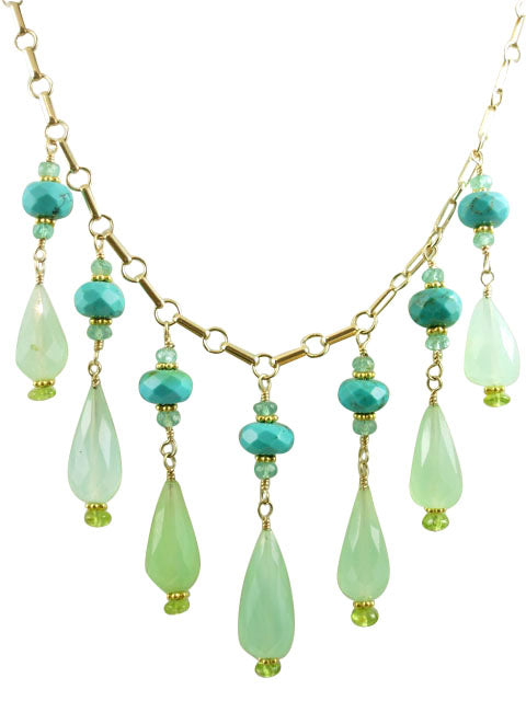 jade and turquoise drop necklace