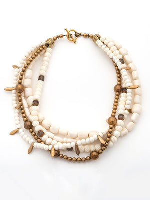 Bone and bronze crystal multi strand necklace