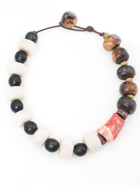 Bone/brown/black with side coral nugget necklace