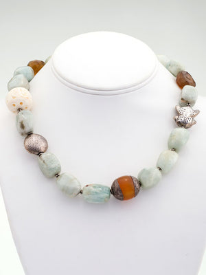 Aquamarine with silver frog bead necklace