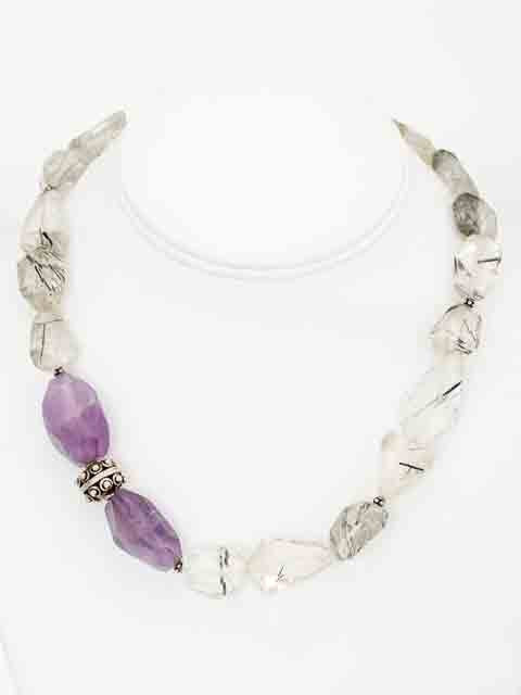 Double amethyst quartz nugget necklace