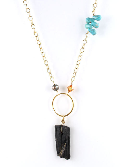 Black tourmaline nugget pendant necklace
