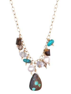 Turquoise briolette and gemstone beads necklace