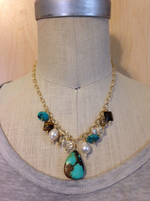 Turquoise briolette and gemstone bead necklace