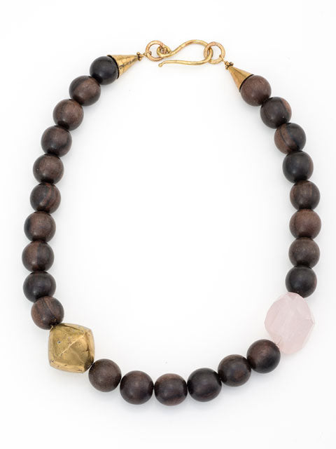 Wood, brass and pink quartz nugget necklace