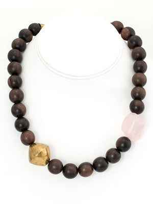 Wood, brass and rose quartz nugget necklace