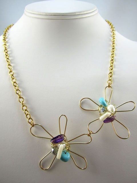 N180 Double flower with wire wrapped beads necklace